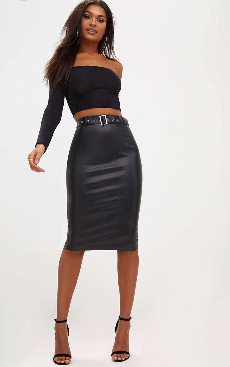 Black Faux Leather Belted Midi Skirt 1