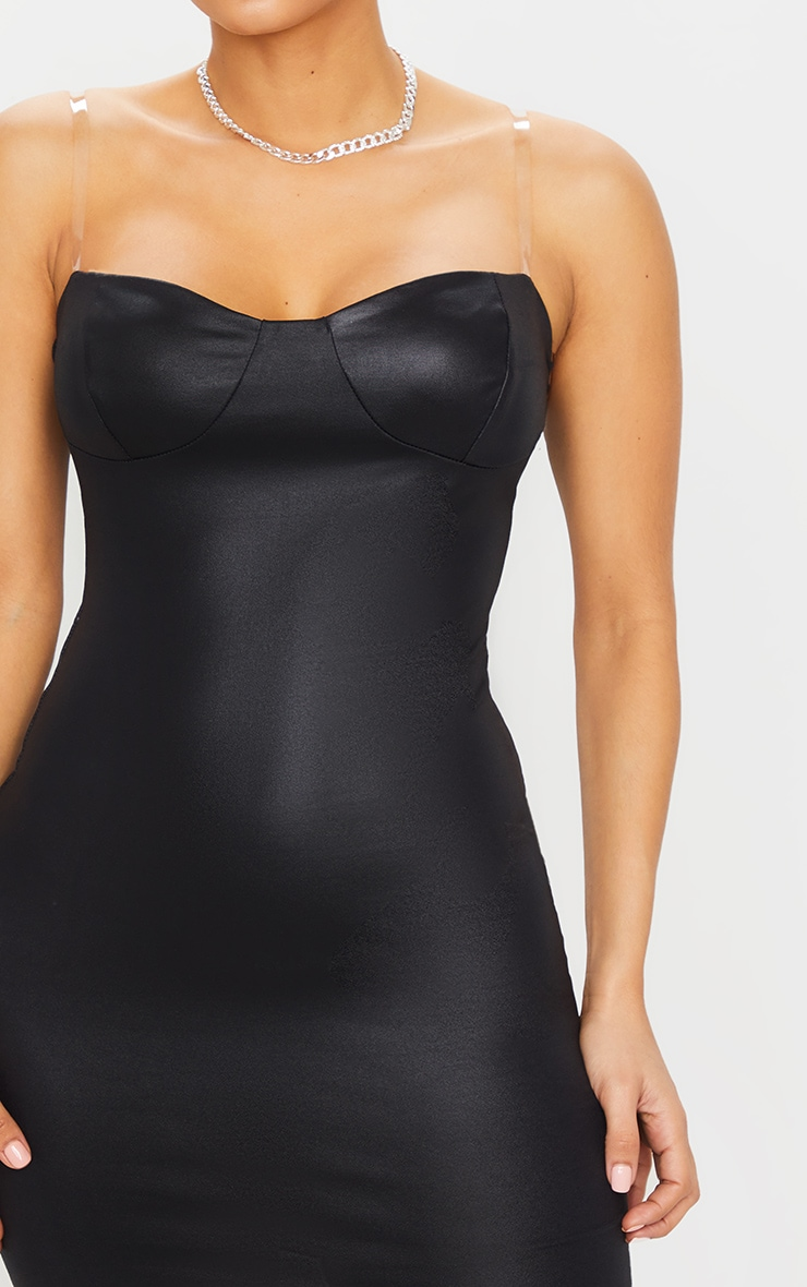 Black Clear Strap Cup Detail Wet Look Bodycon Dress 4