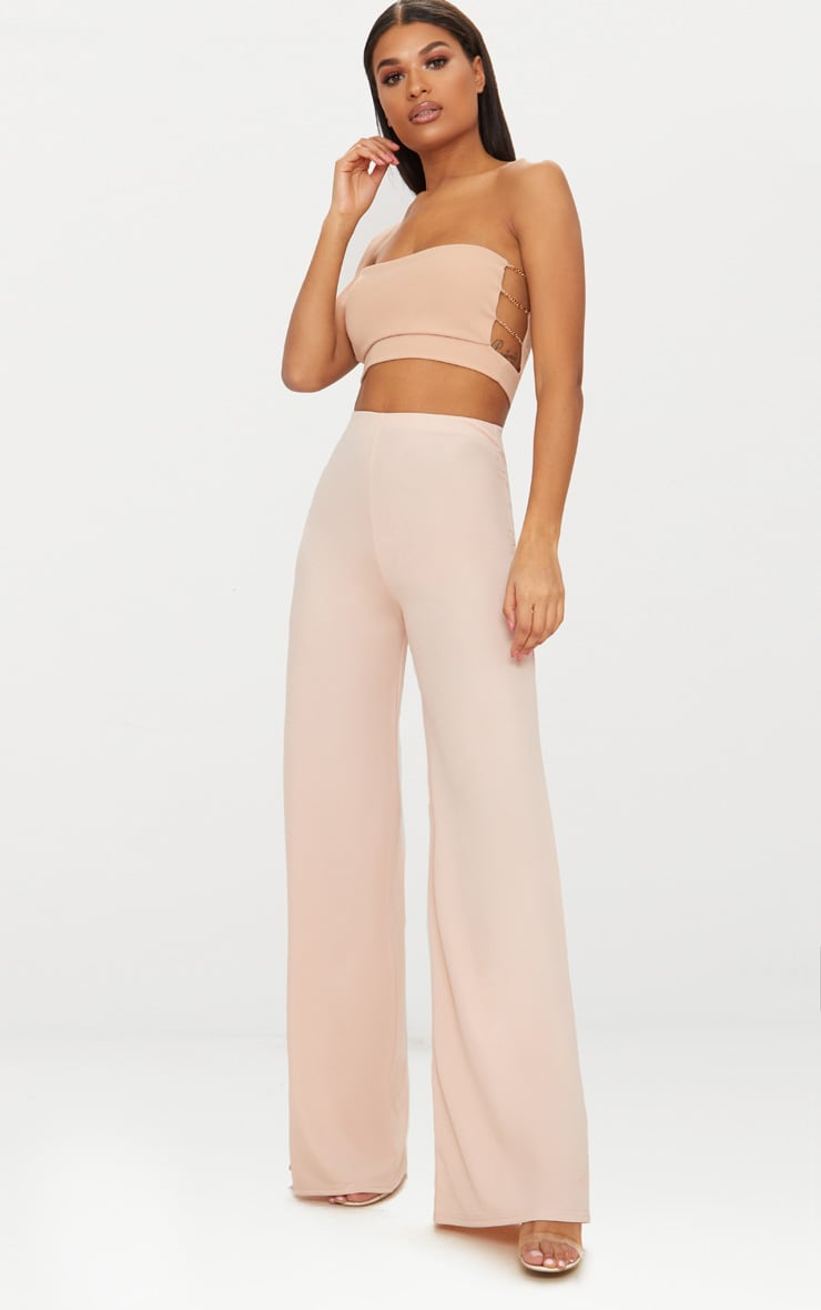 Nude High Waisted Wide Leg Trousers 1