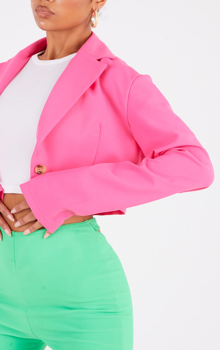 Hot Pink Woven Cropped Blazer 4