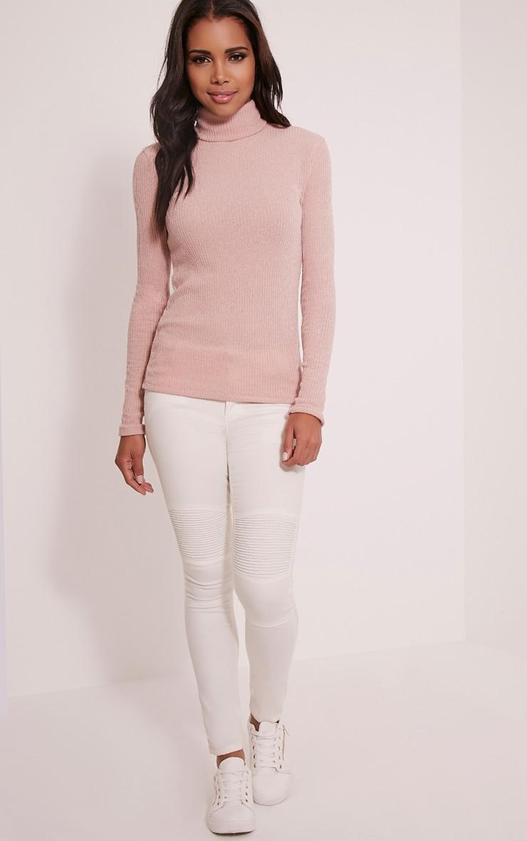 Delty top à col roulé côtelé tricoté rose pâle 5