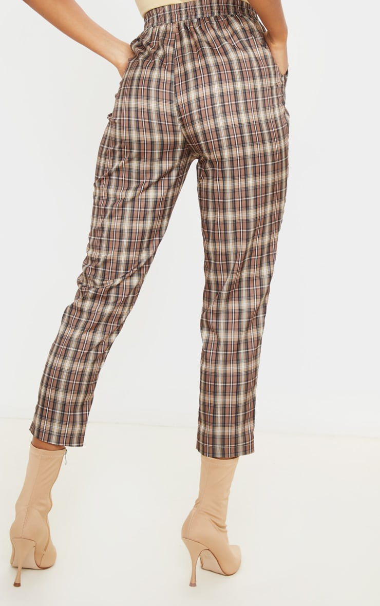 Brown Check Casual Pants 4