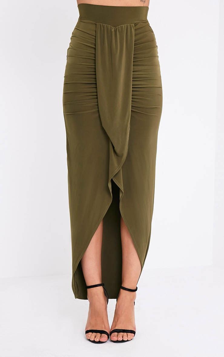 Lucia Khaki Slinky Drape Ruched Maxi Skirt 2
