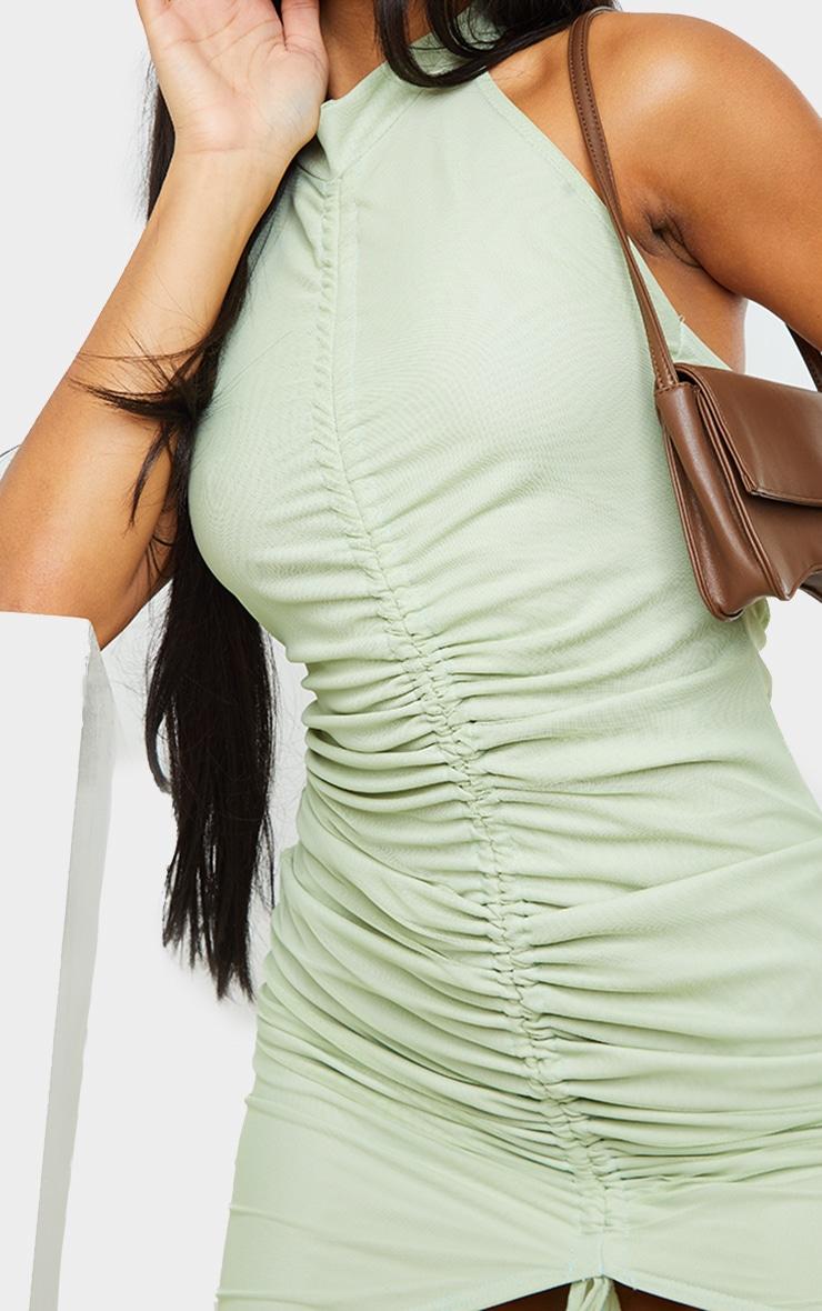Mint Mesh Halterneck Ruched Bodycon Dress 4