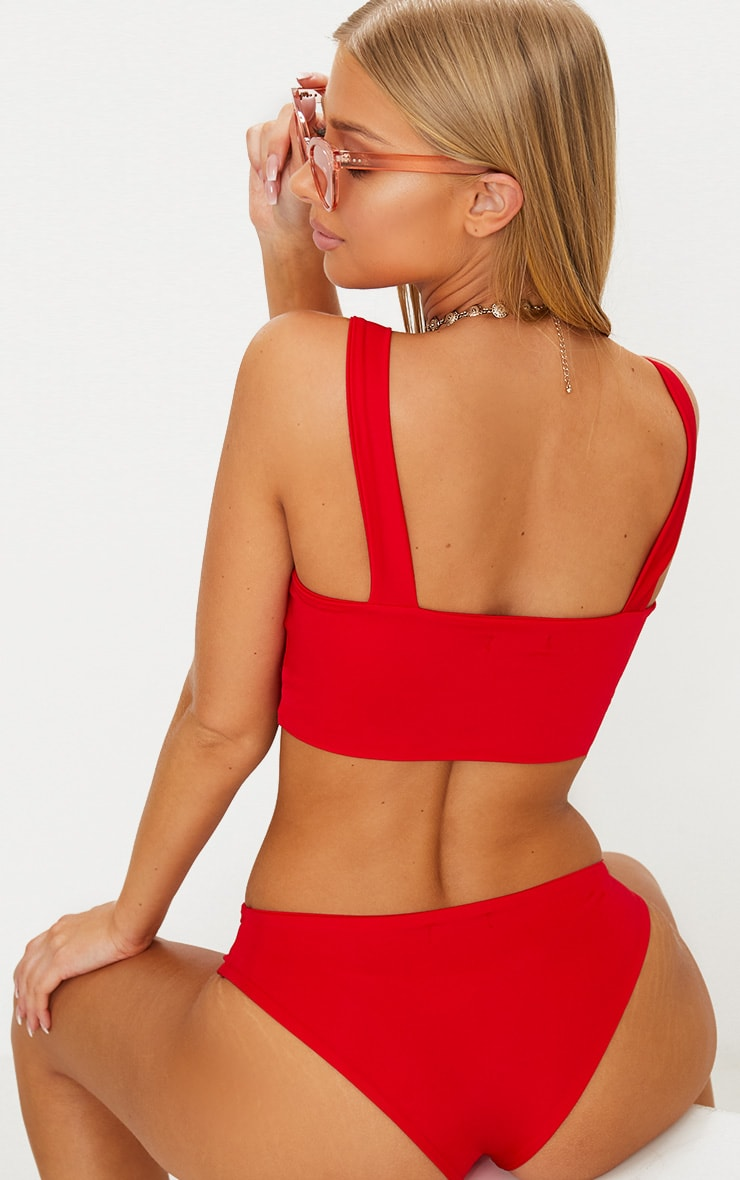 Red Mix & Match Plunge Bikini Top  2