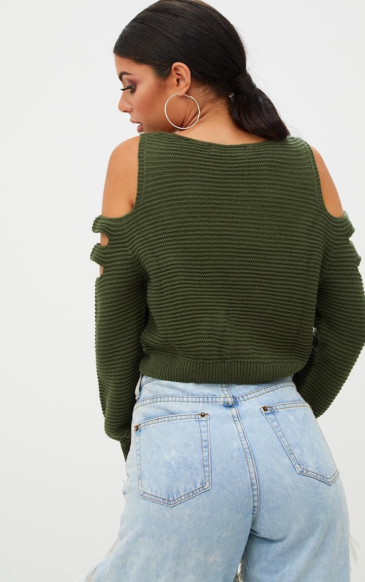 Khaki Cut Out Shoulder Knitted Jumper 2