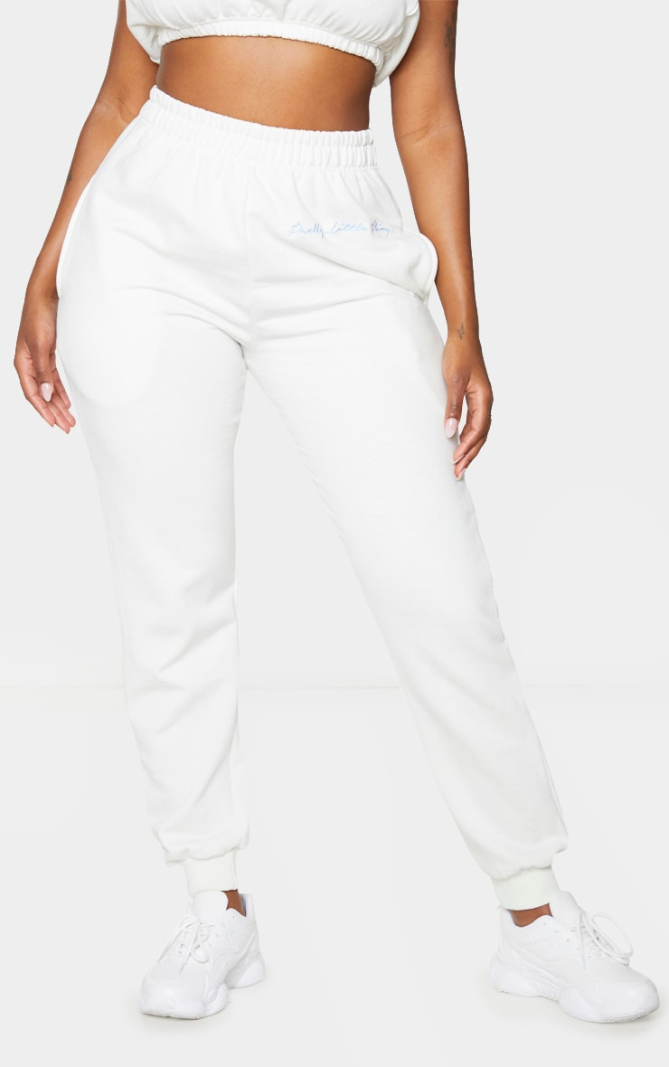 PRETTYLITTLETHING Shape Cream Embroidered Joggers 2