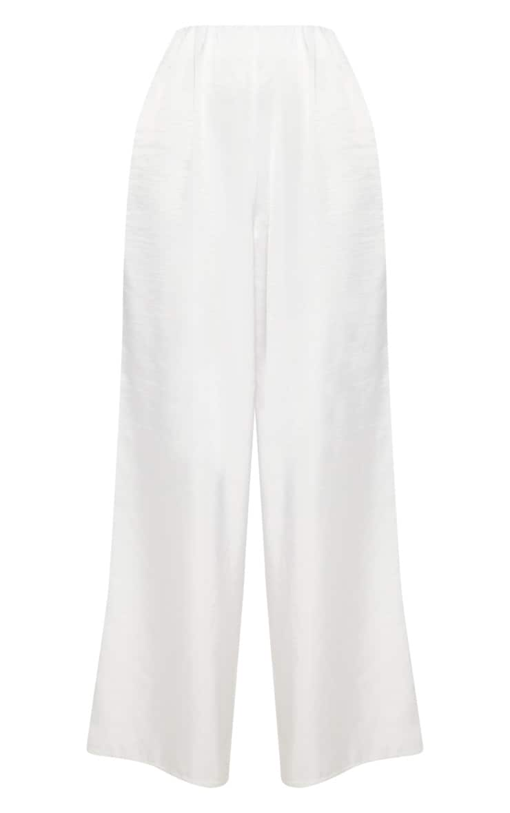 White Oversized Satin Wide Leg Trouser 3