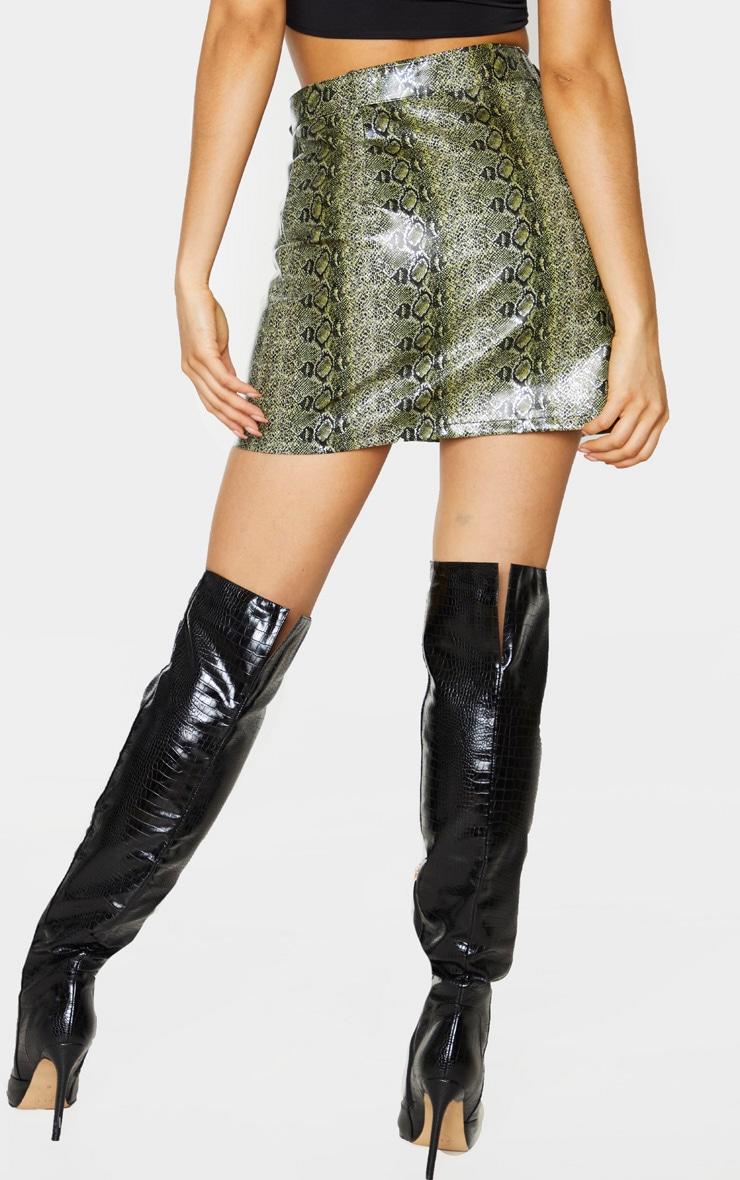 Tall Green PU Buckle Detail Snake Print Mini Skirt 3