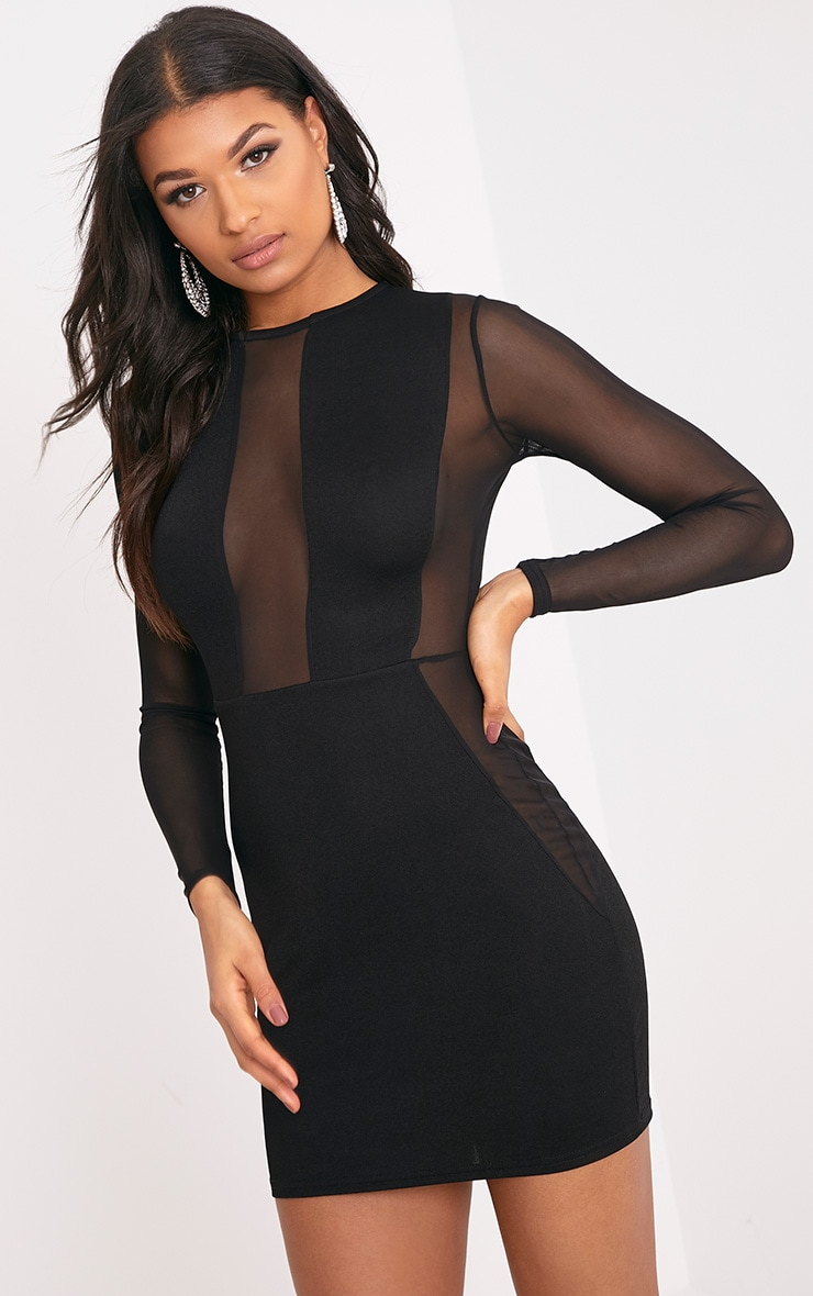 Eliza Black Mesh Insert Long Sleeve Bodycon Dress 1