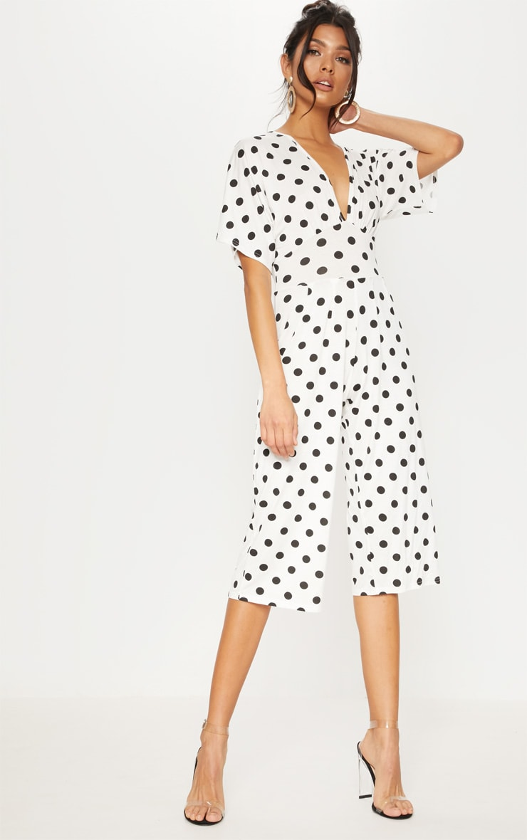 White Polka Dot Bat Wing Culotte Jumpsuit 1