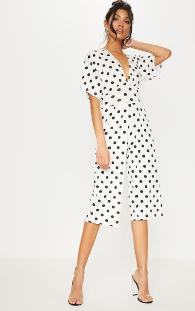 2b5125e47f1 White Polka Dot Bat Wing Culotte Jumpsuit