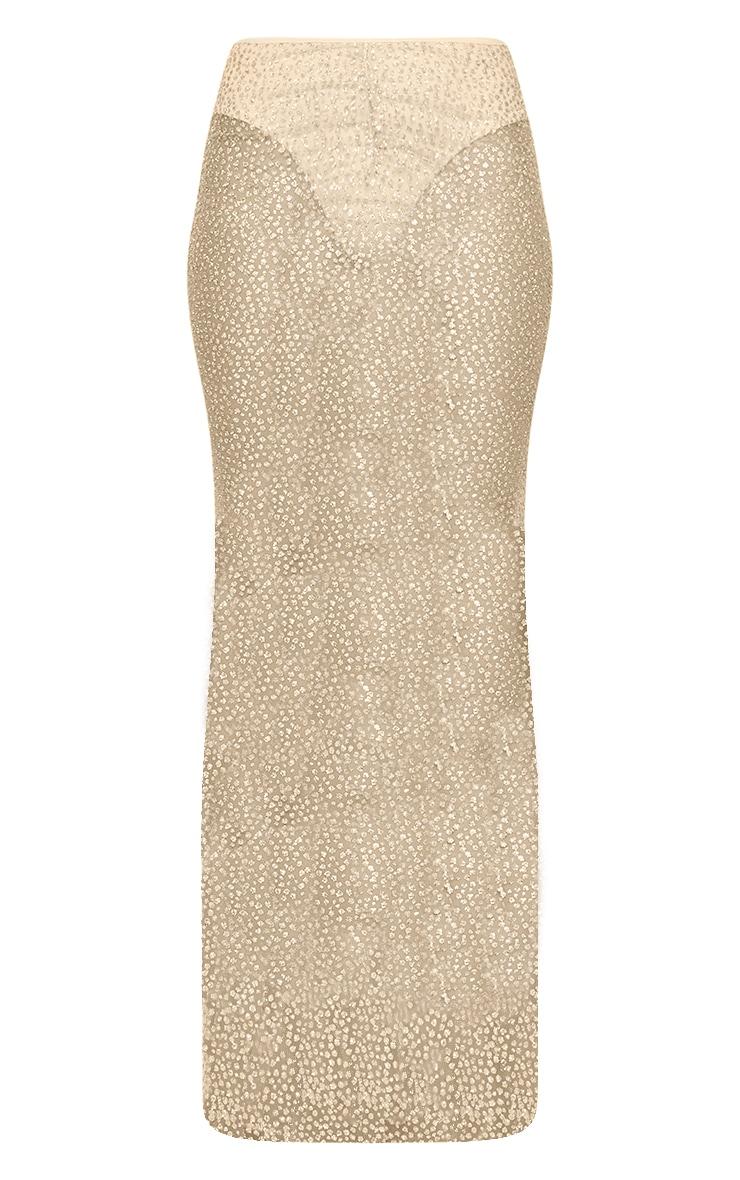 Gold Glitter Printed V Waist Sheer Maxi Skirt 5