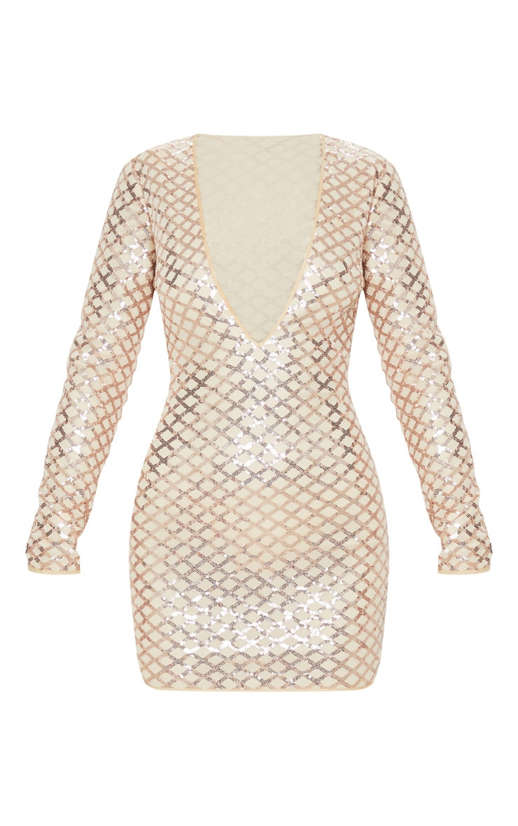 Rose Gold Patterned Sequin Long Sleeve Plunge Bodycon Dress 3