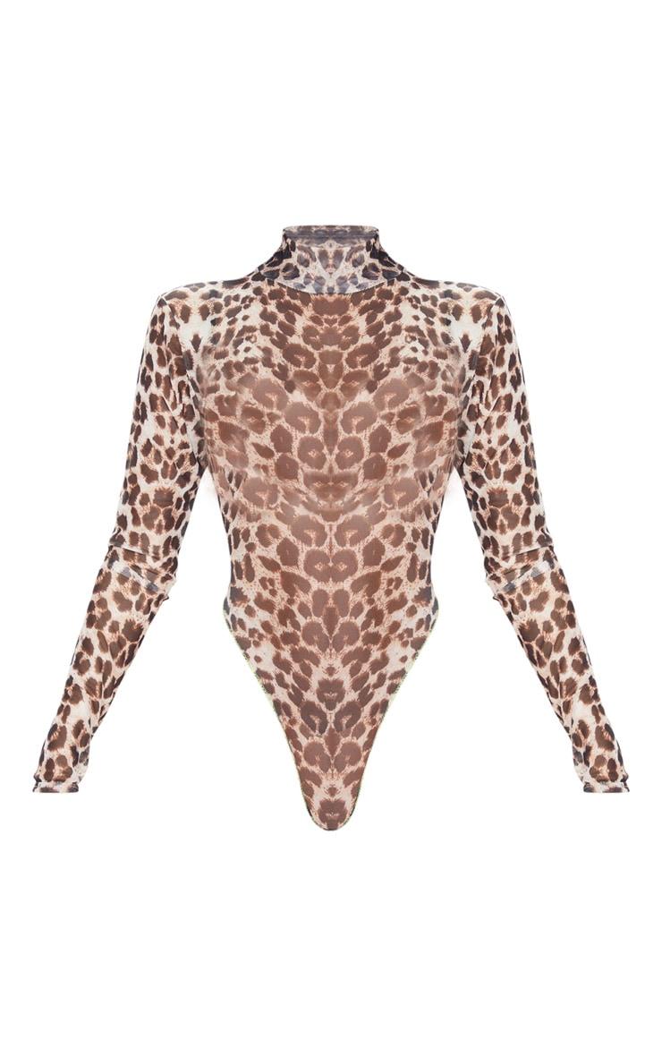 Tan Leopard Print Mesh High Neck Bodysuit 3