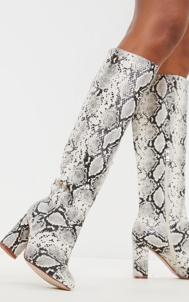 Snake Block Heel Knee Boot 2
