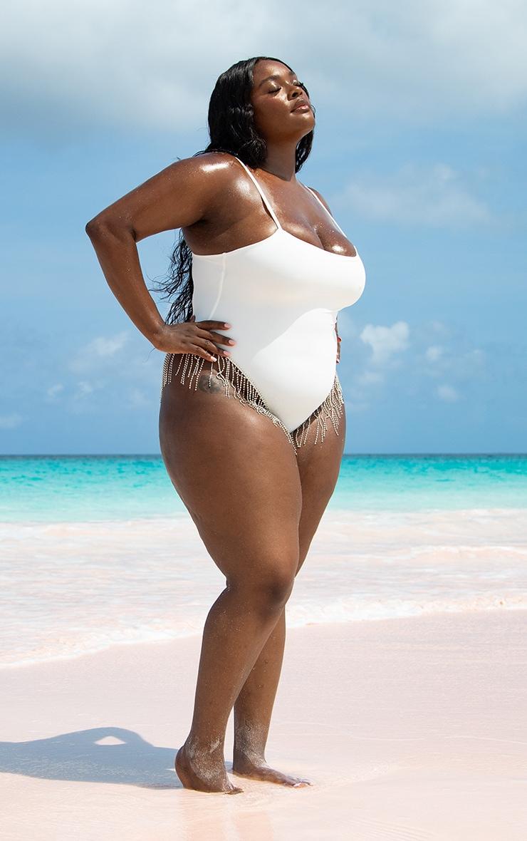 Plus White Diamante Trim Swimsuit image 2