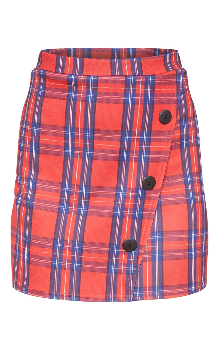 Red Checked Button Skirt 3