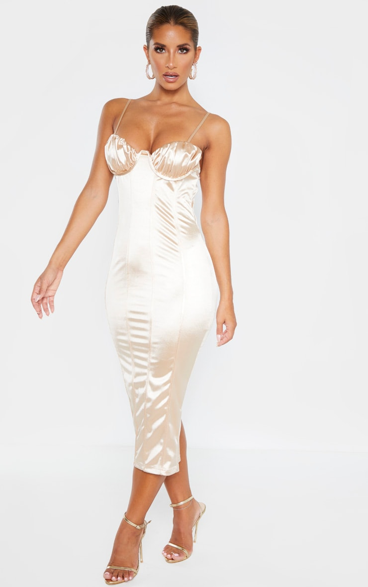 Champagne Ruched Bust Panelled Satin Midi Dress 4