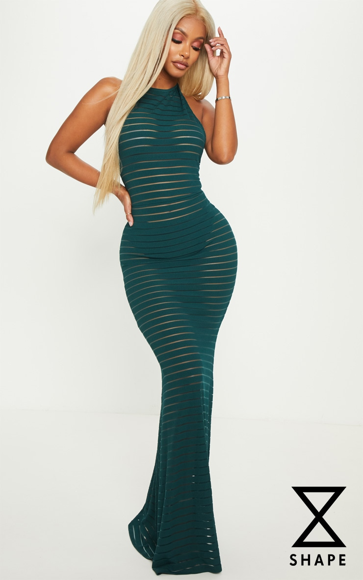 Shape Emerald Green Halterneck Sheer Mesh Maxi Dress