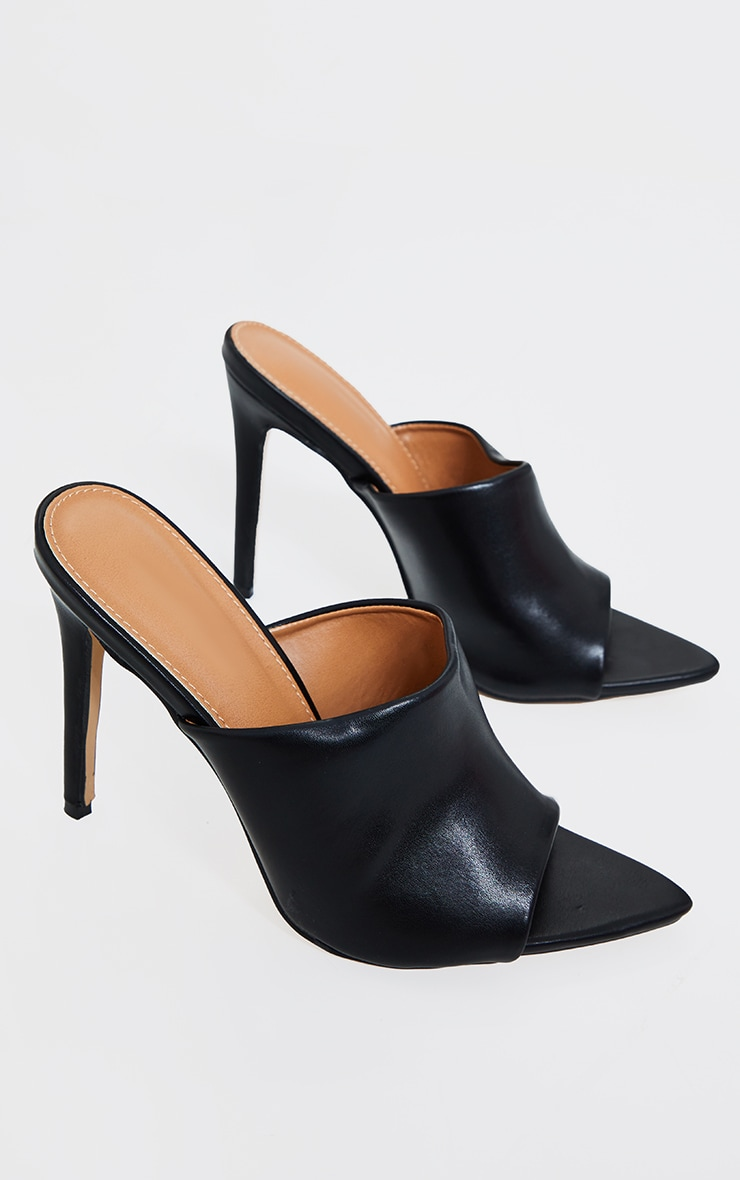 Black Pu Pointed High Heeled Mules 4