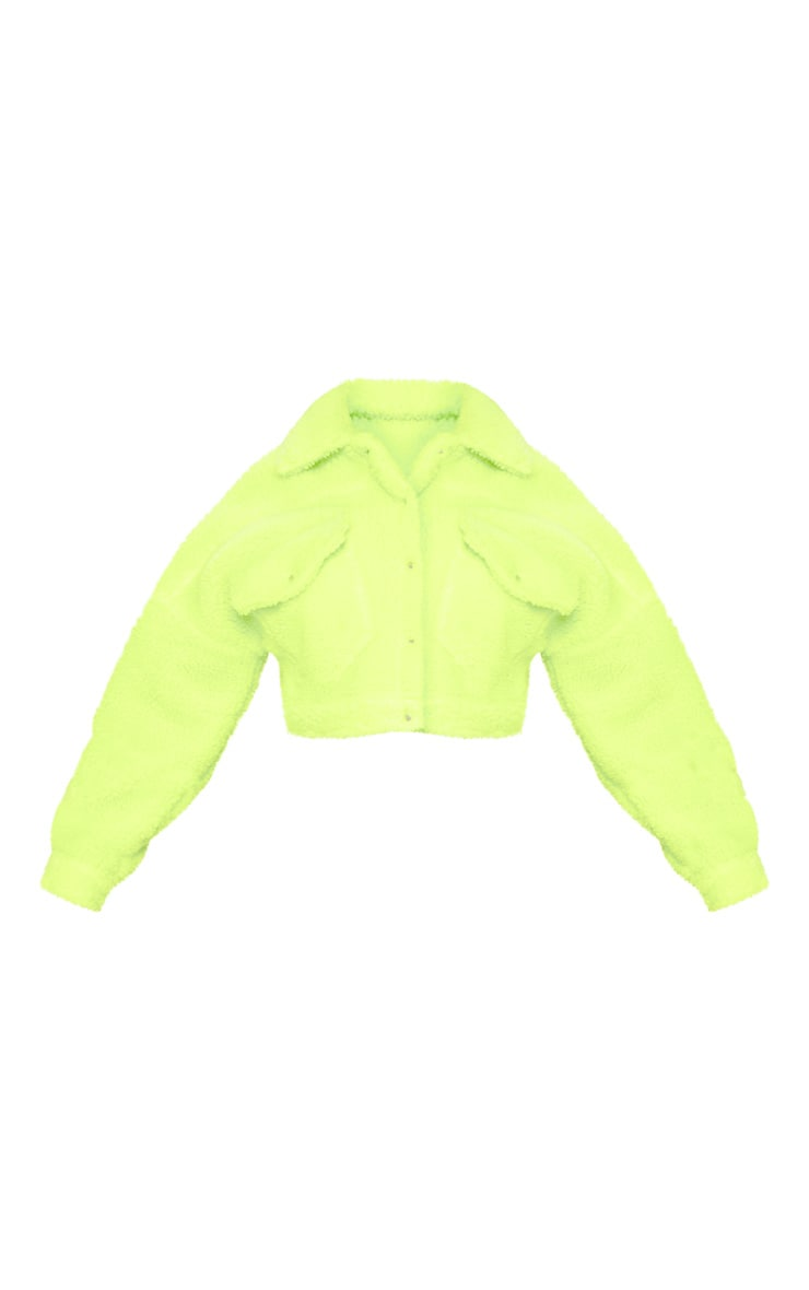 Neon Green Borg Cropped Trucker Jacket  3