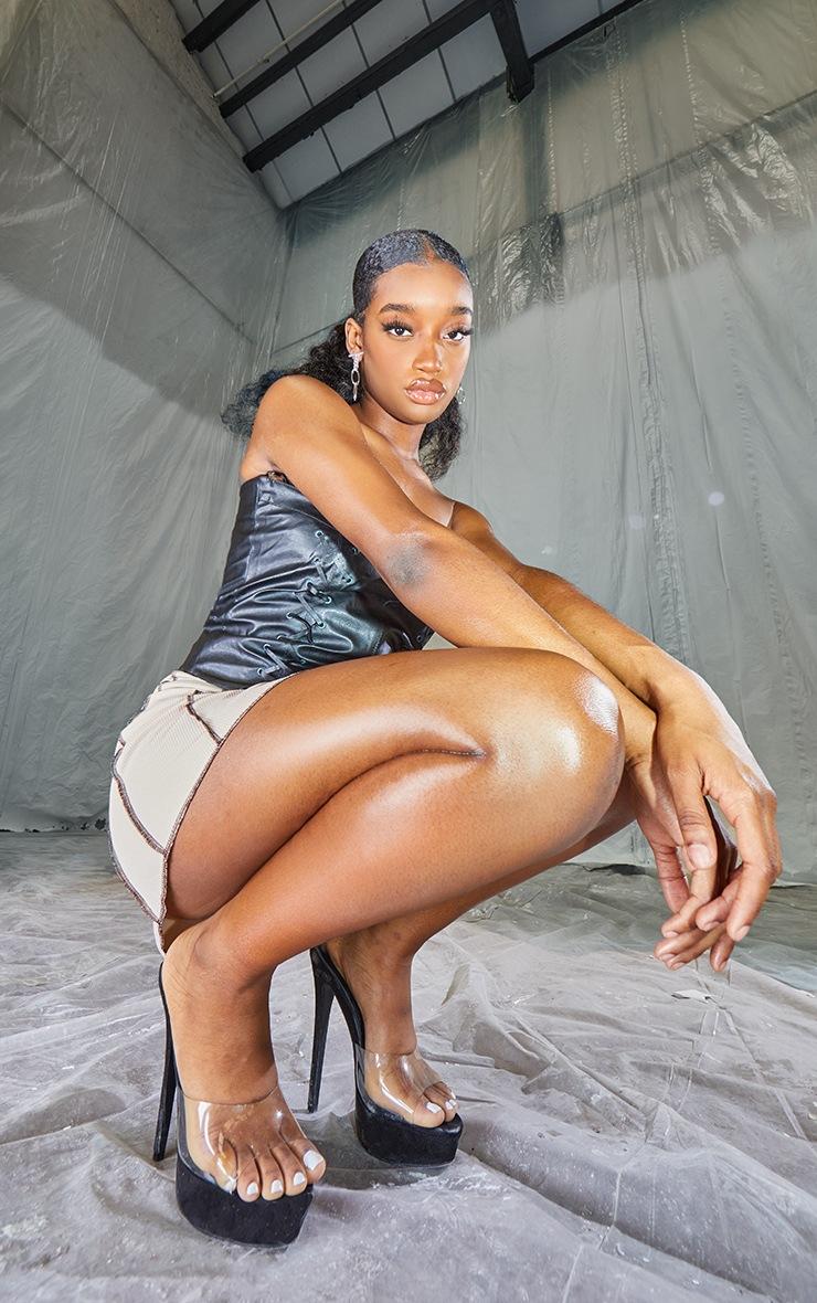 Black PU Bandeau Pointed Hem Lace Up Top 3