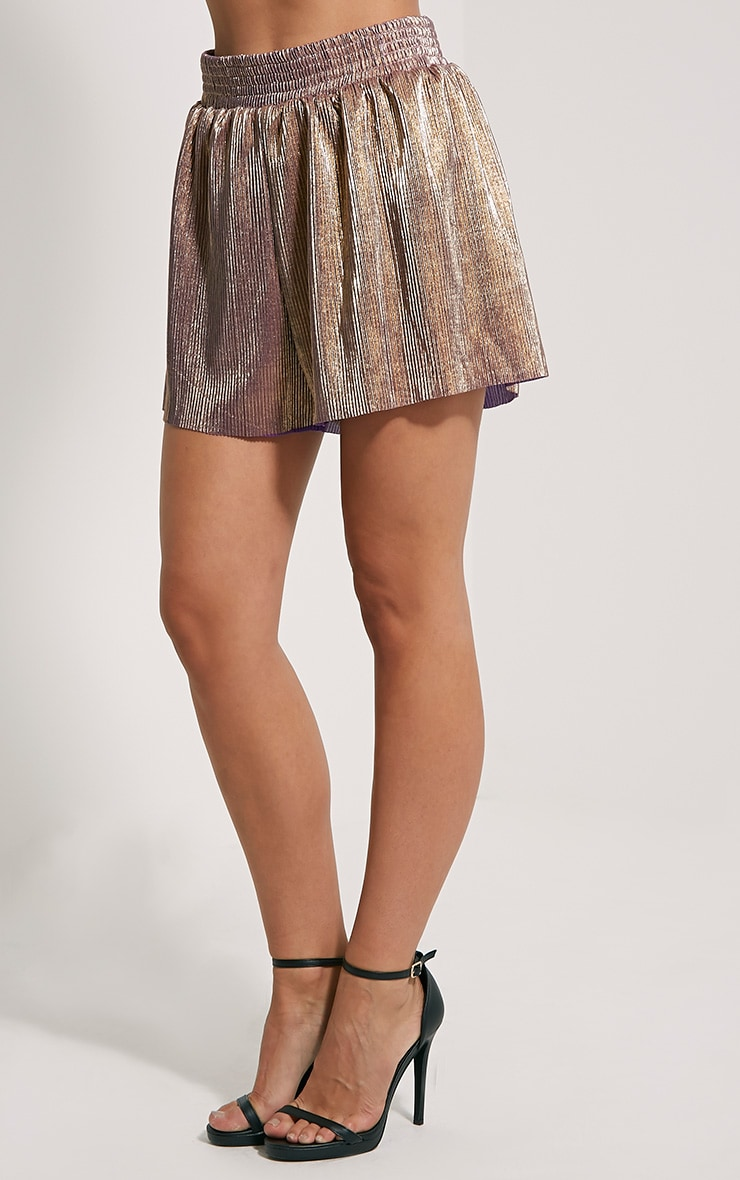 Lula Gold Metallic Shorts 3
