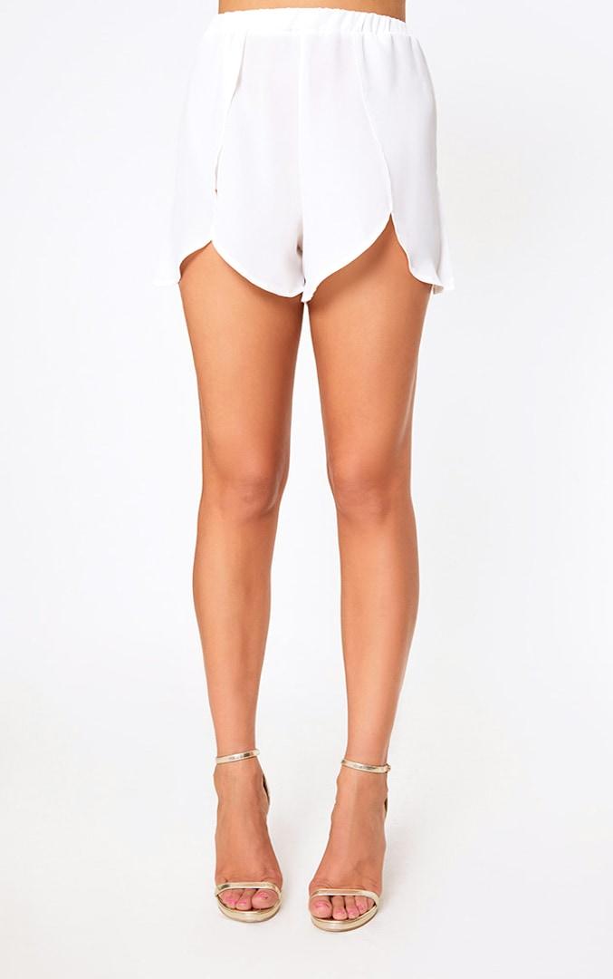 White Sheer Front Wrap Beach Shorts 2