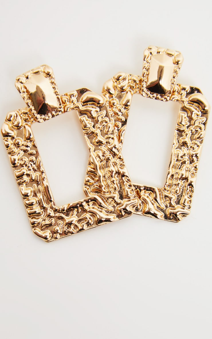 Gold Door Knocker Hammered Square Statement Drop Hoops 2