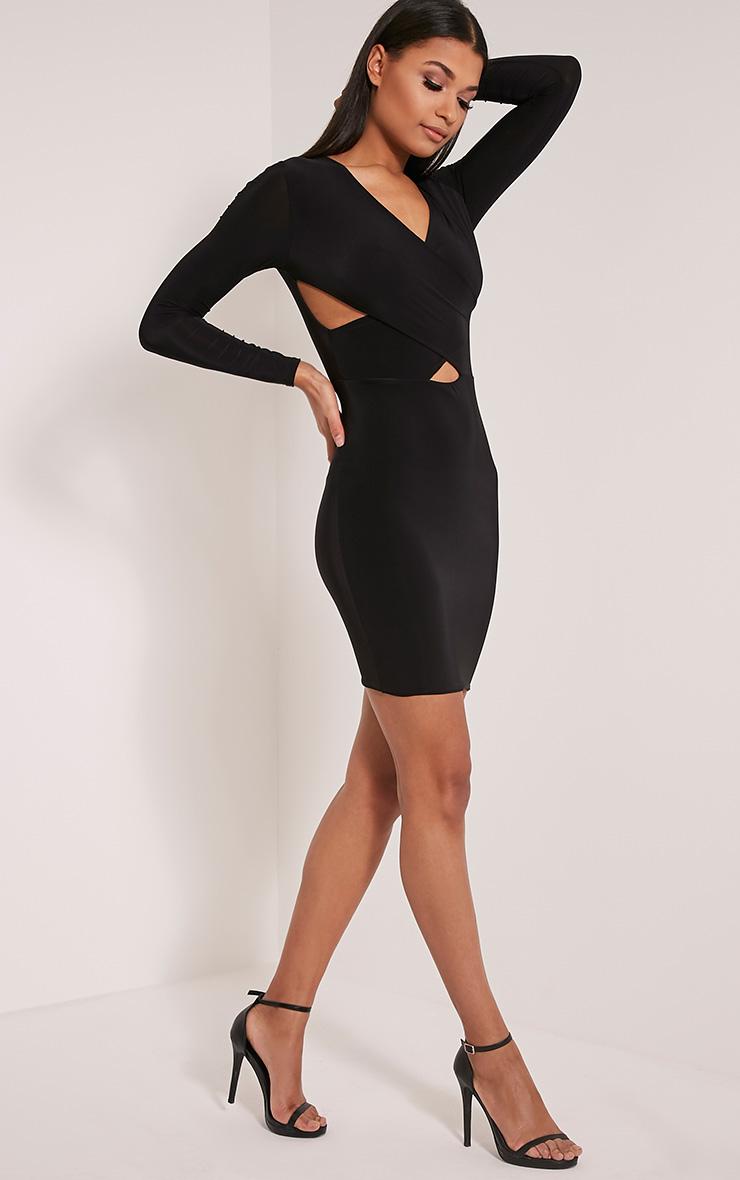 Tamaya robe moulante noire à manches courtes et devant croisé 5