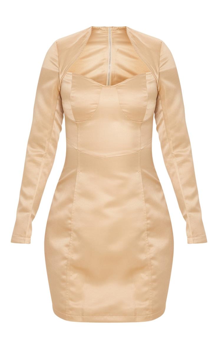 Petite - Mini-robe champagne satinée à armatures et manches longues 3