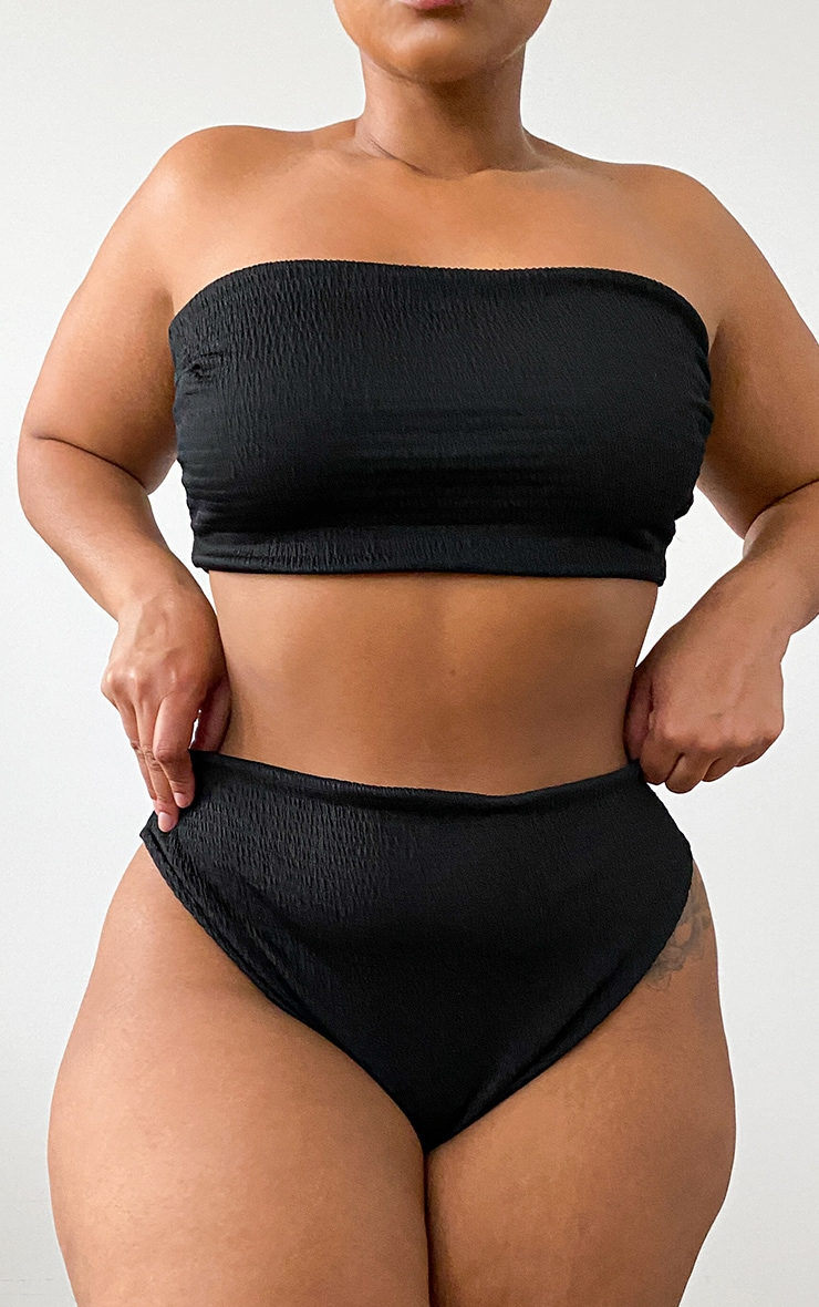 Plus Black Crinkle High Waisted High Leg Bikini Bottoms 1