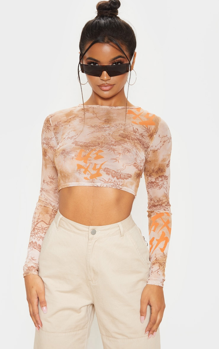 Orange Tie Dye Printed Mesh Long Sleeve Crop Top 1