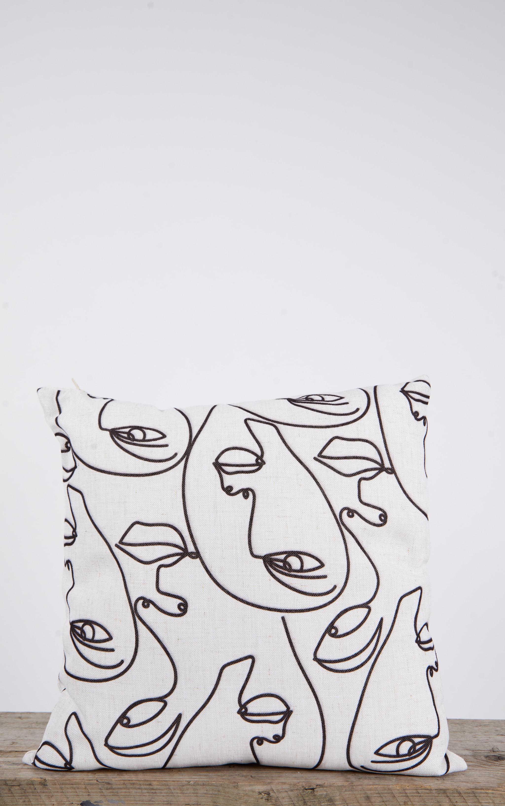 Multi Silhouette Print Linen Filled Cushion 3
