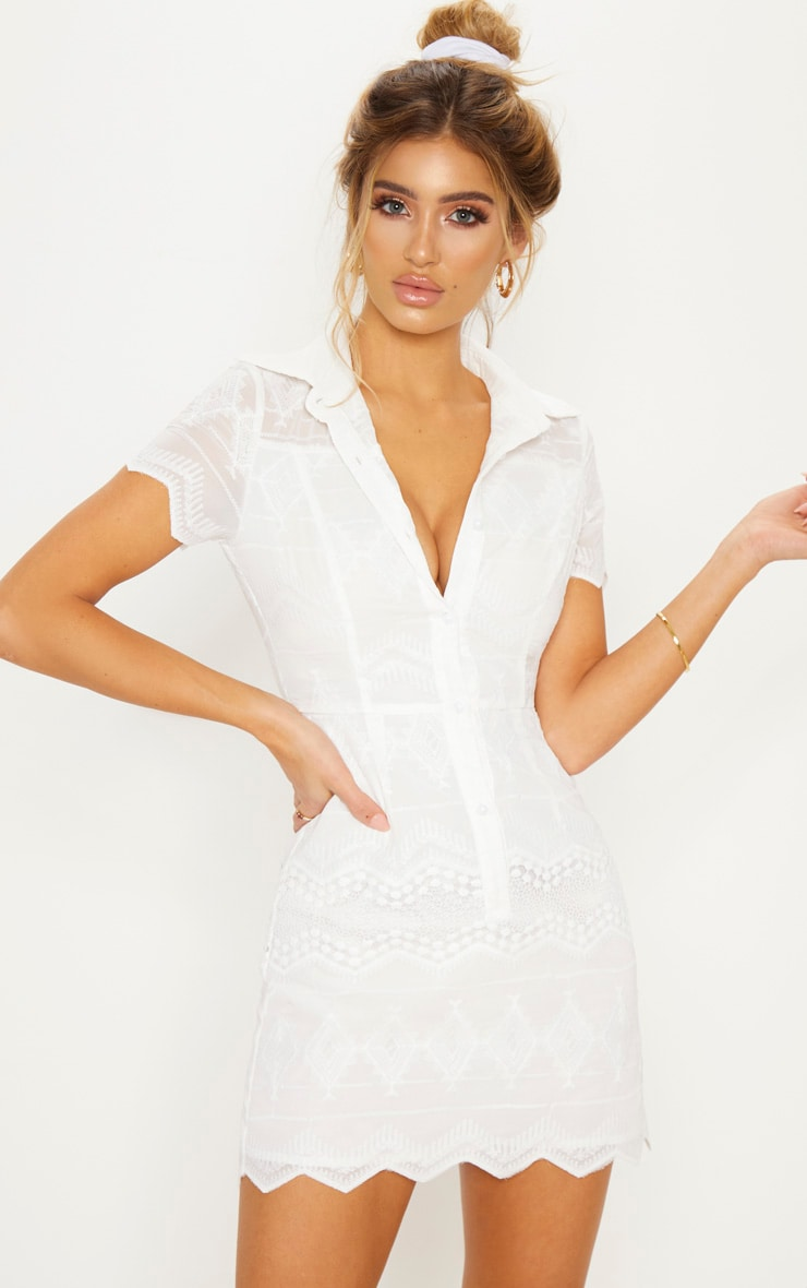 White Embroidered Lace Button Detail Shift Dress 1