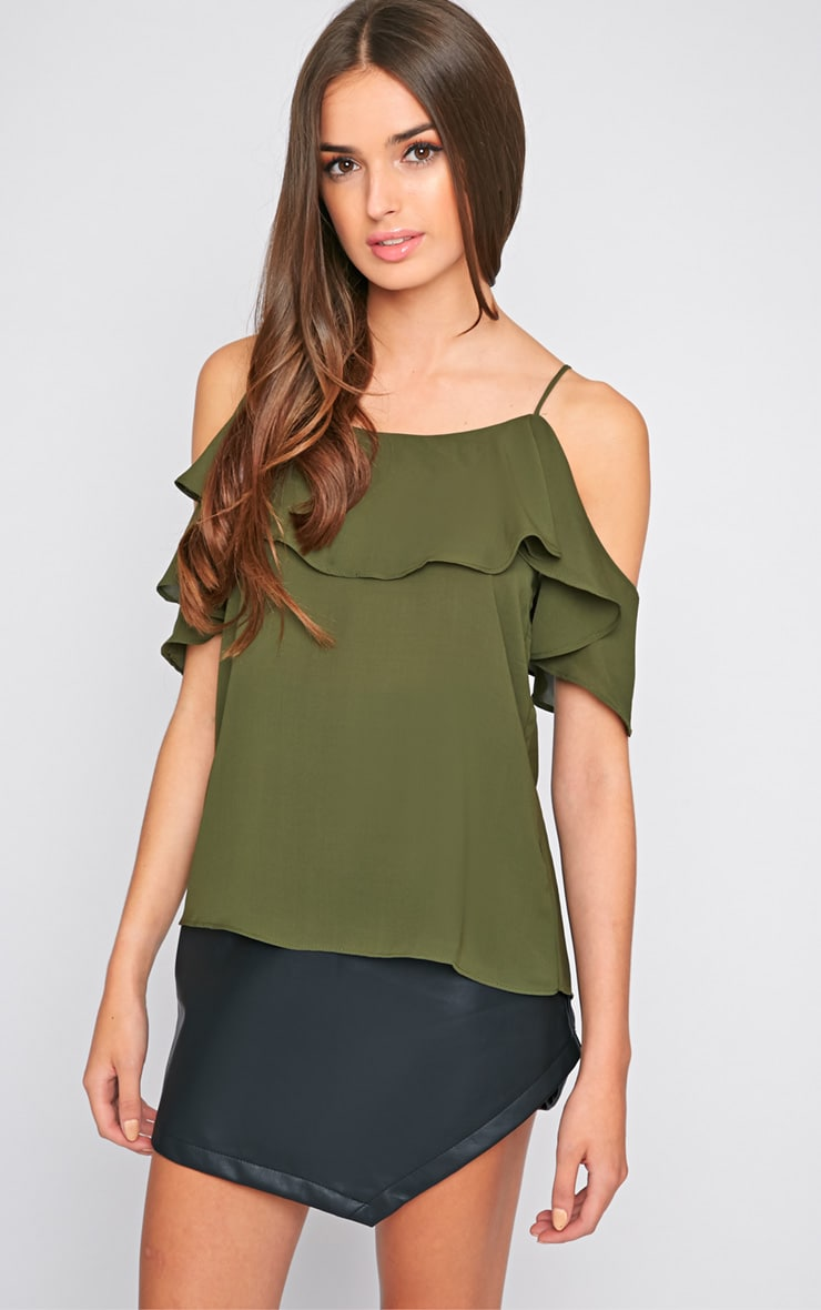 Nyla Khaki Cut Out Frill Cami  1