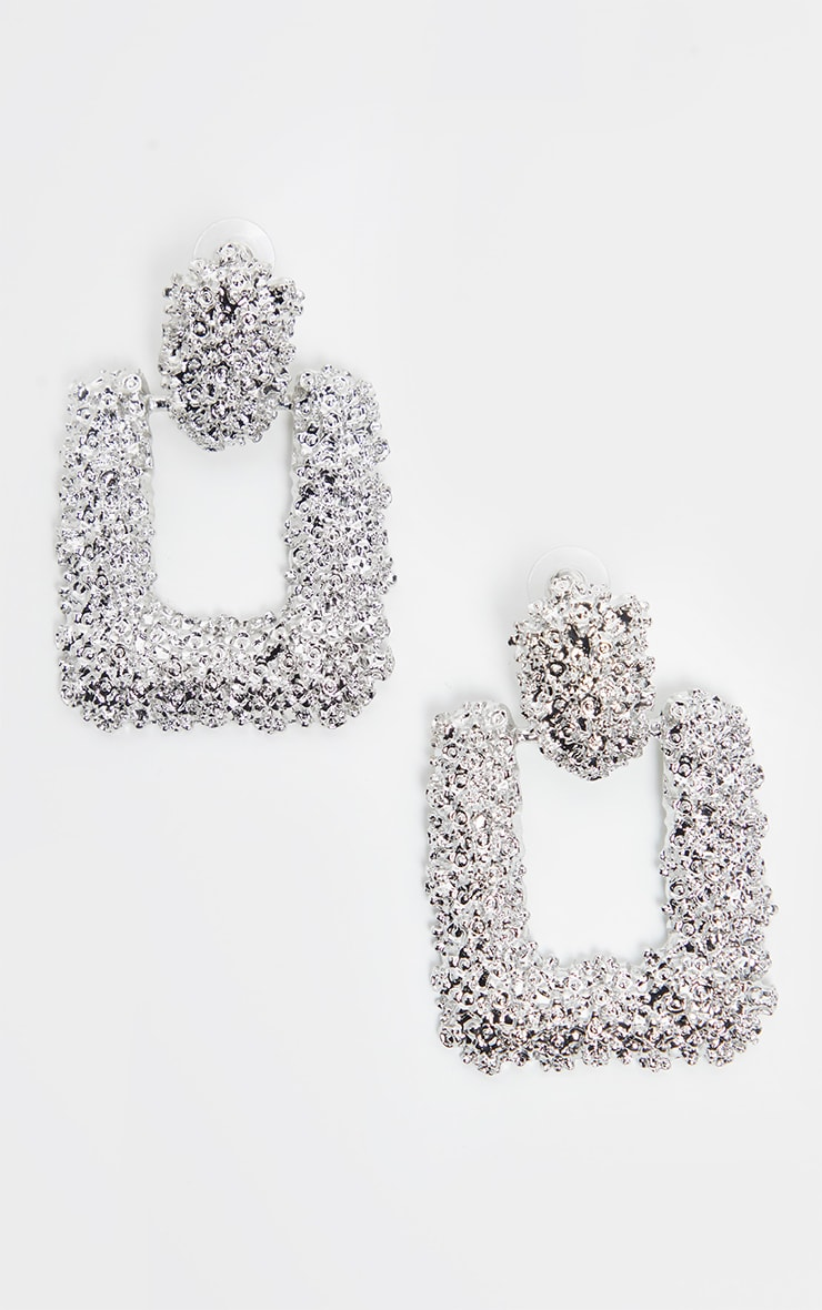 Silver Textured Statement Door Knocker Earring 2