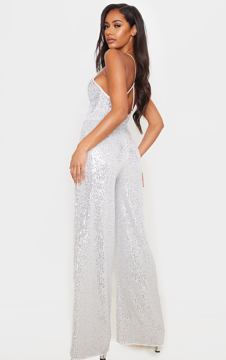 Silver Strappy Sequin Plunge Jumpsuit 2