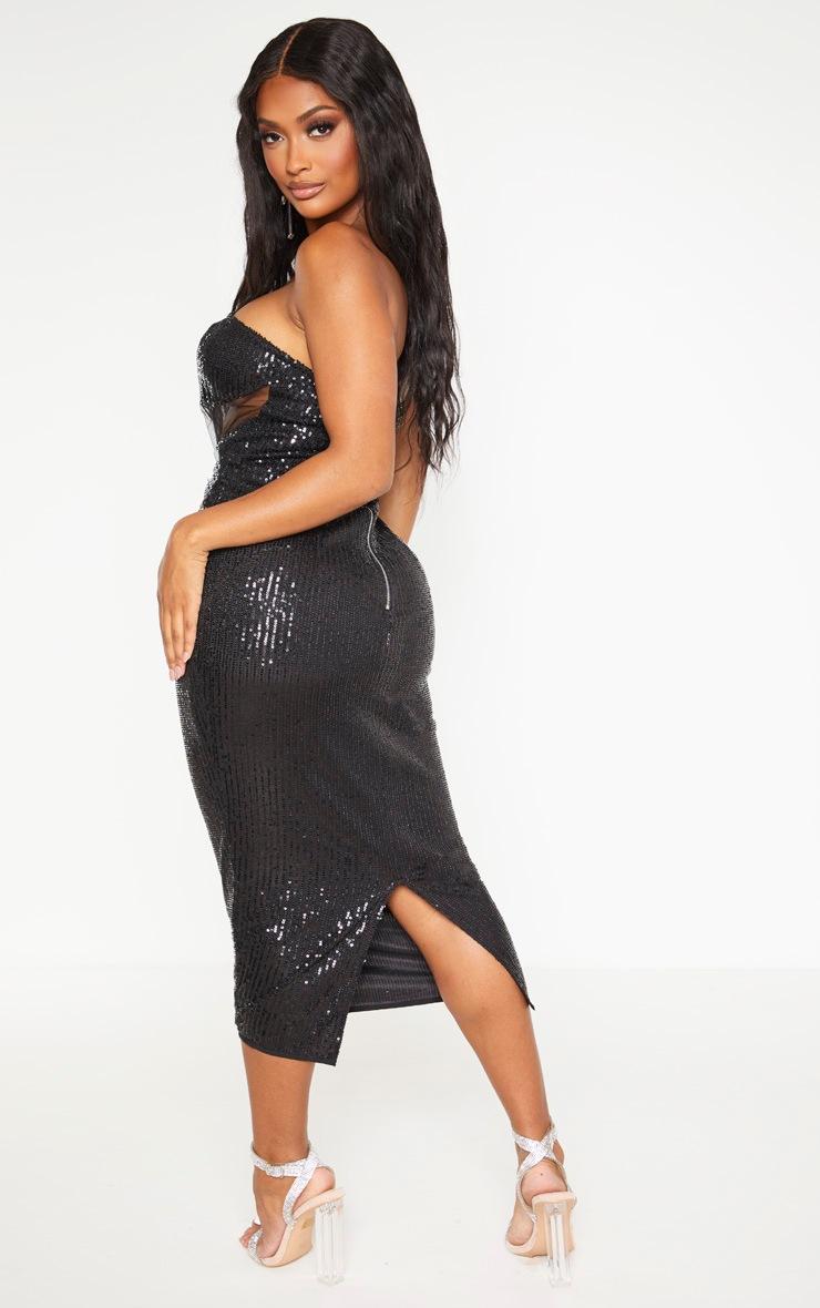 Shape Black Sequin Mesh Corset Detail Midi Dress 2