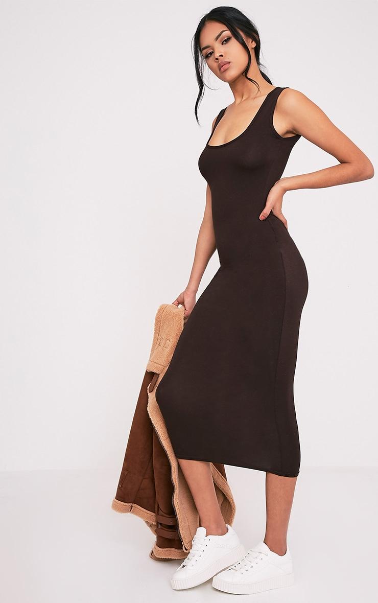 Mirah Brown Scoop Neck Midaxi Dress 4