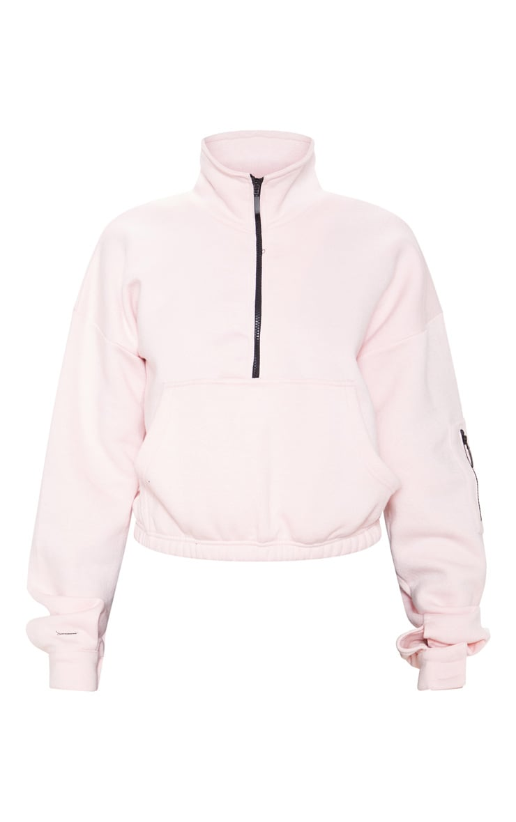 Baby Pink Oversized Zip Front Sweater 3