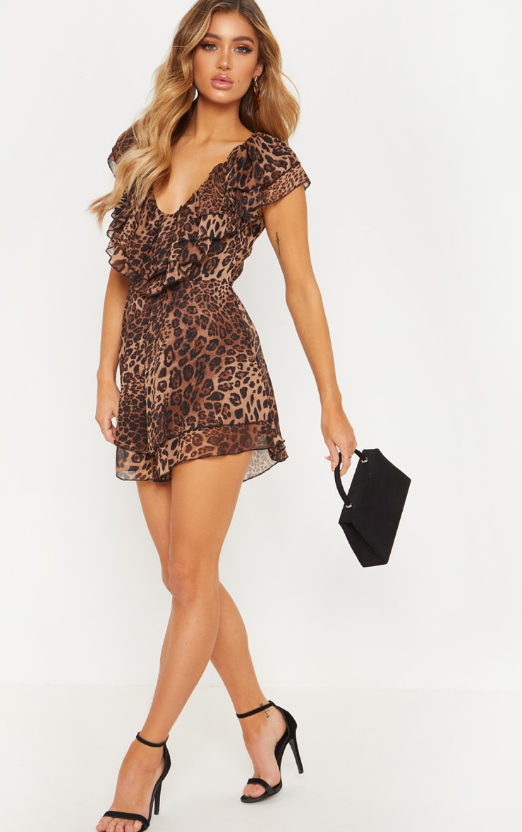 Tan Leopard Frill Plunge Playsuit 4