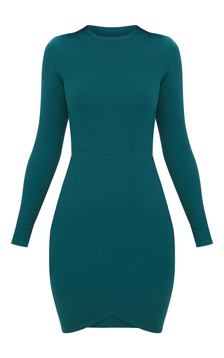 Emerald Green Long Sleeve Wrap Skirt Bodycon Dress 3