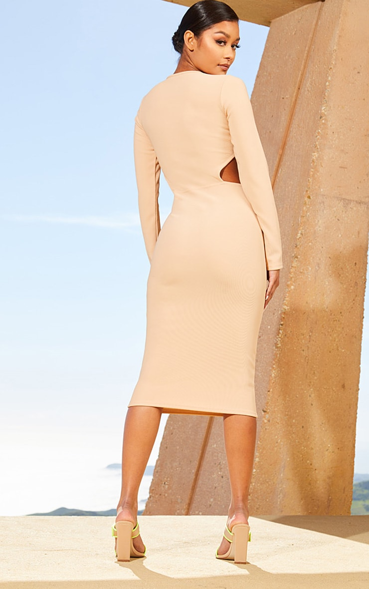 Nude Second Skin Cut Out Side Midi Dress 2
