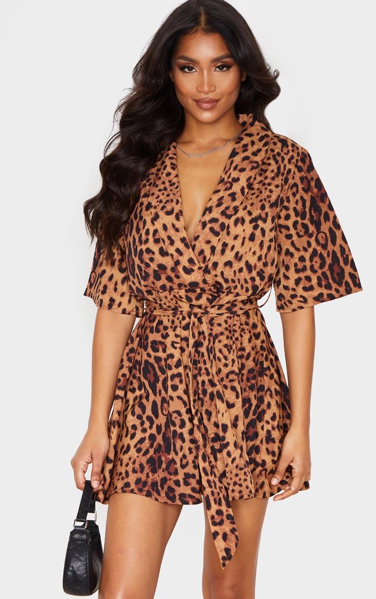 Brown Leopard Print Tea Dress 1