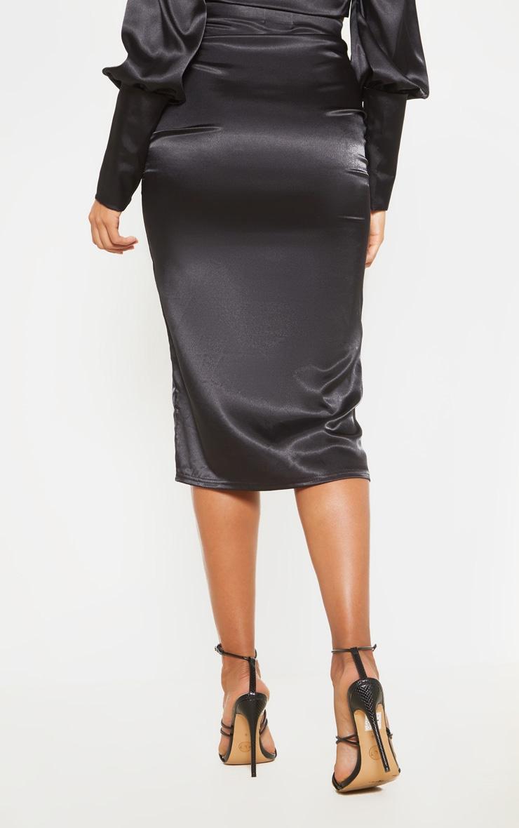 Black Satin Ruched Front Midi Skirt  4
