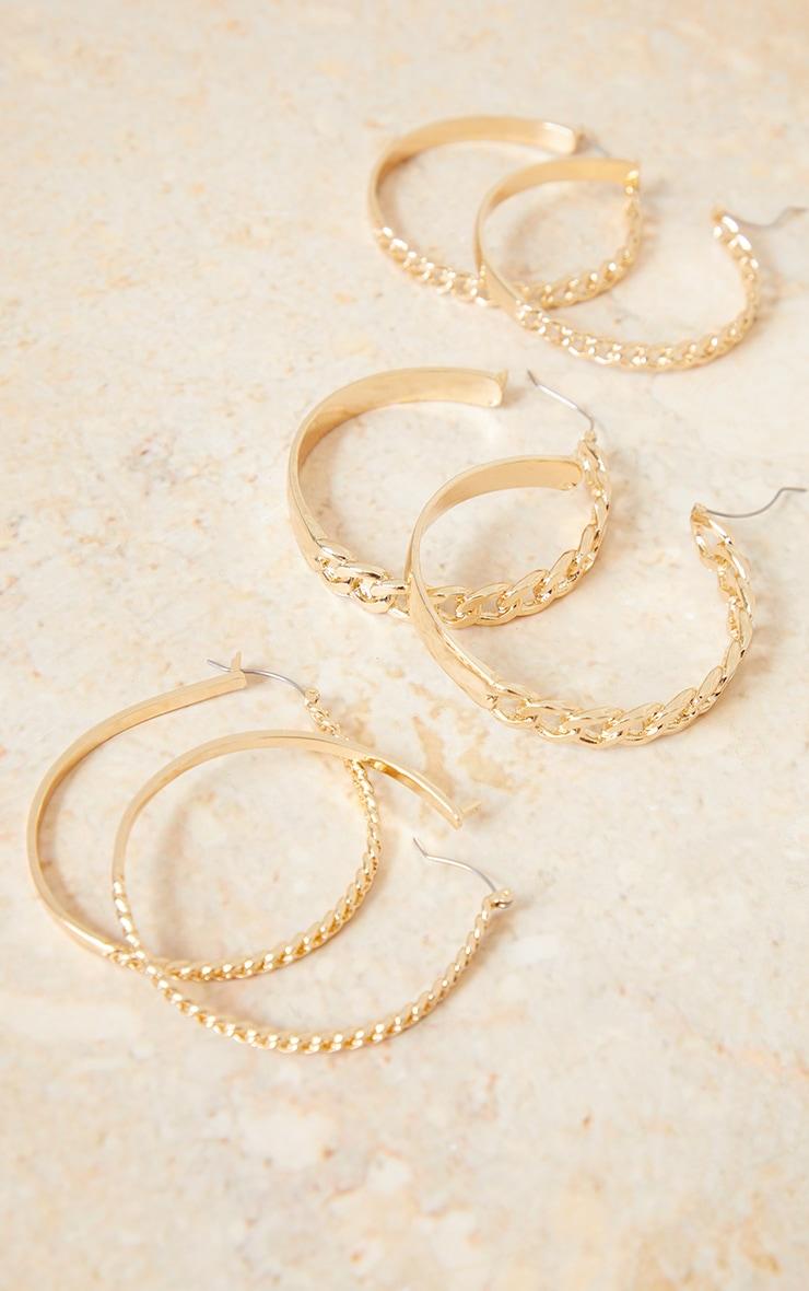 Gold 3 Pack Assorted Chain Hoop Earrings 1