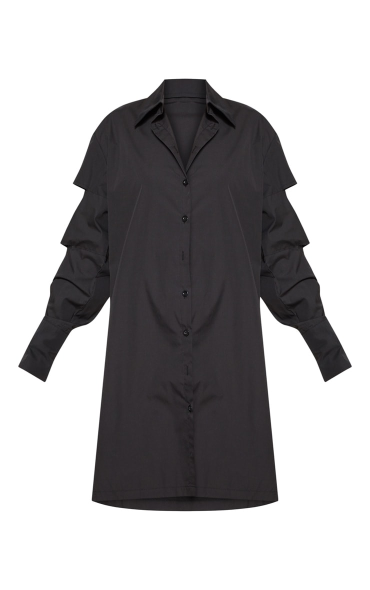 Black Split Sleeve Oversized Shirt Dress  3
