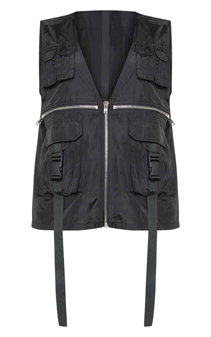 Black Utility Oversized Vest 3